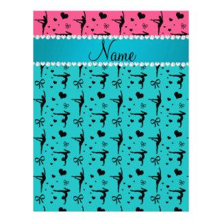 Custom name pink turquoise gymnastics 21.5 cm x 28 cm flyer