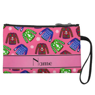 Custom name pink ugly christmas sweater pattern wristlet clutches