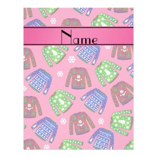 Custom name pink ugly christmas sweater pattern 21.5 cm x 28 cm flyer