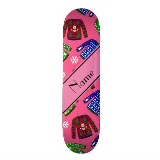 Custom name pink ugly christmas sweater pattern custom skateboard
