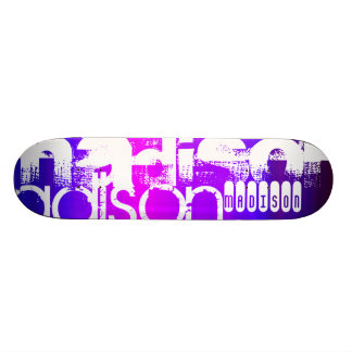 Custom Name; Pink, Violet Blue, Magenta, purple Skateboard Deck