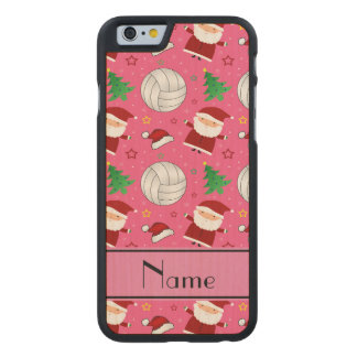 Custom name pink volleyball christmas pattern carved® maple iPhone 6 slim case