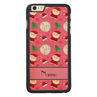 Custom name pink volleyball christmas pattern iPhone 6 plus case