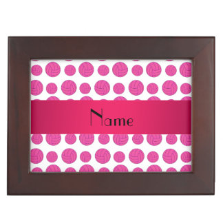 Custom name pink volleyball pattern memory boxes