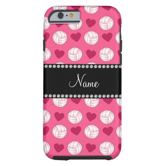 Custom name pink volleyballs and hearts tough iPhone 6 case