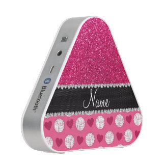 Custom name pink volleyballs rose pink glitter