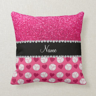 Custom name pink volleyballs rose pink glitter cushion