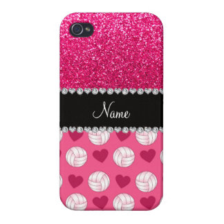 Custom name pink volleyballs rose pink glitter iPhone 4 cover