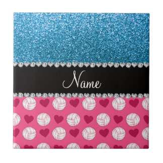 Custom name pink volleyballs sky blue glitter tile
