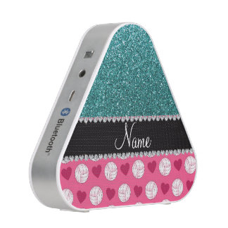 Custom name pink volleyballs turquoise glitter