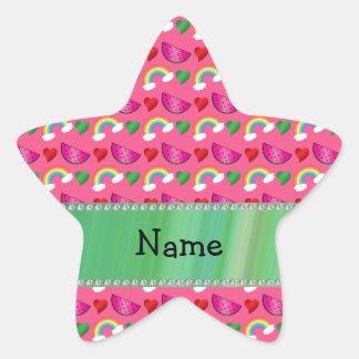 Custom name pink watermelons rainbows hearts star sticker