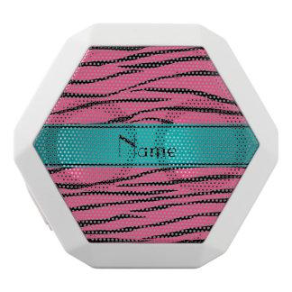 Custom name pink zebra stripes turquoise stripe white boombot rex bluetooth speaker