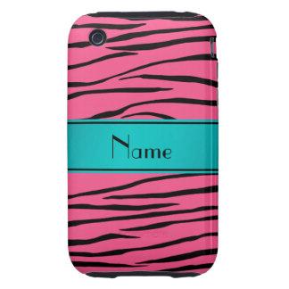 Custom name pink zebra stripes turquoise stripe tough iPhone 3 cases