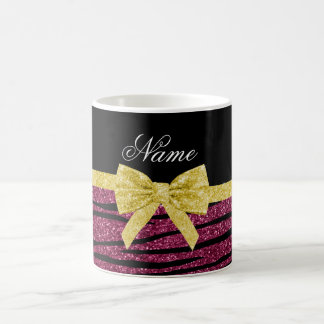 Custom name plum purple glitter zebra stripes bow coffee mug
