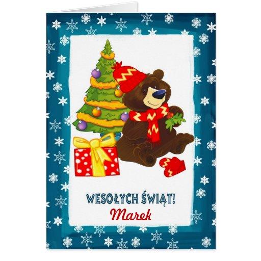 Custom Name. Polish Christmas Card