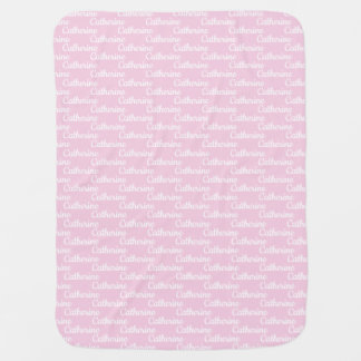 Custom Name Powder Pink Baby Girl Baby Blanket