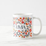 Custom Name Pretty Floral Red Colourful Girly Mug