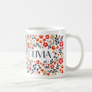 Custom Name Pretty Floral Red Colourful Girly Mug