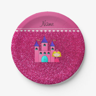Custom name princess castle neon hot pink glitter paper plate