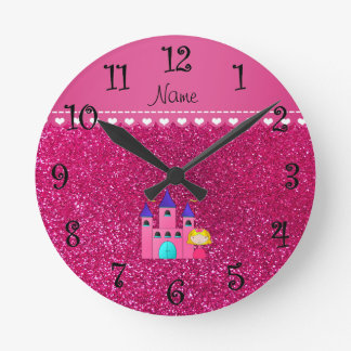 Custom name princess castle neon hot pink glitter round clock