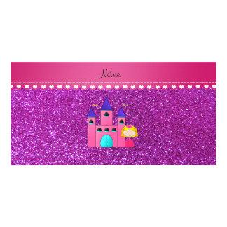 Custom name princess castle neon purple glitter custom photo card
