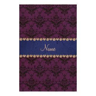 Custom name Purple black damask blue stripe Cork Fabric