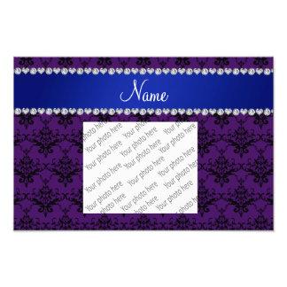 Custom name Purple black damask blue stripe Photograph