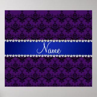 Custom name Purple black damask blue stripe Print