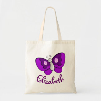Custom Name Purple Butterfly Tote Budget Tote Bag