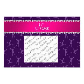 Custom name purple cheerleading pink stripe photo