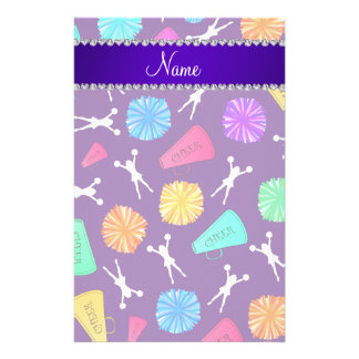 Custom name purple cheerleading pompoms stationery