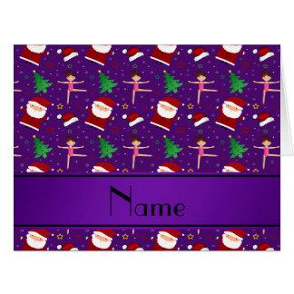 Custom name purple christmas gymnastics santas big greeting card