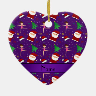 Custom name purple christmas gymnastics santas ceramic heart decoration
