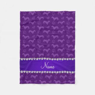 Custom name purple dachshunds hearts paws fleece blanket