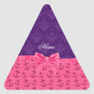 Custom name purple damask pink anchors bow triangle stickers