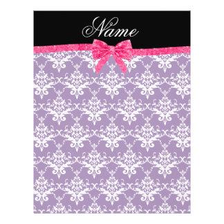 Custom name purple damask pink glitter bow flyers