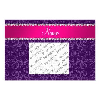 Custom name purple damask swirls pink stripe photographic print
