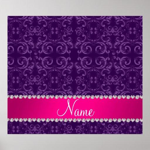 Custom name purple damask swirls pink stripe poster