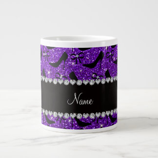 Custom name purple glitter black high heels bow extra large mugs