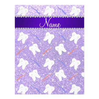 Custom name purple glitter brushes and tooth 21.5 cm x 28 cm flyer