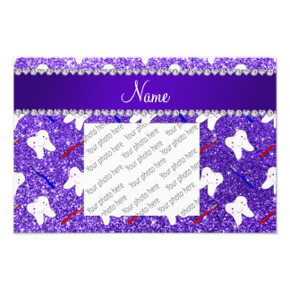 Custom name purple glitter brushes and tooth photo print