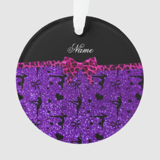Custom name purple glitter gymnastics pink bow