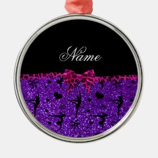 Custom name purple glitter gymnastics pink bow christmas ornament