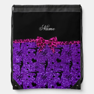 Custom name purple glitter gymnastics pink bow drawstring bag