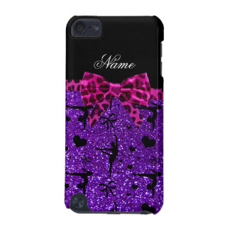 Custom name purple glitter gymnastics pink bow iPod touch 5G cover