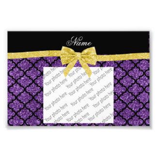 Custom name purple glitter moroccan gold bow photo print