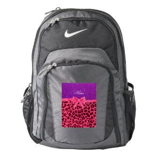 Custom name purple glitter pink leopard bow backpack