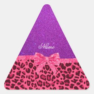 Custom name purple glitter pink leopard bow triangle stickers