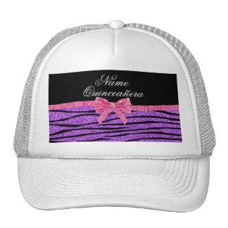 Custom name purple glitter zebra quinceañera trucker hats