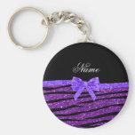 Custom name purple glitter zebra stripes bow